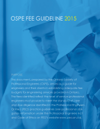 2015 OSPE Fee Guideline for Professional Engineering Services
