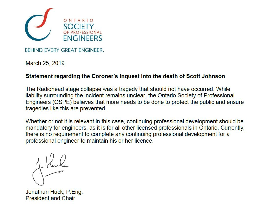 OSPE statement Coroner's Inquest Radiohead stage collapse