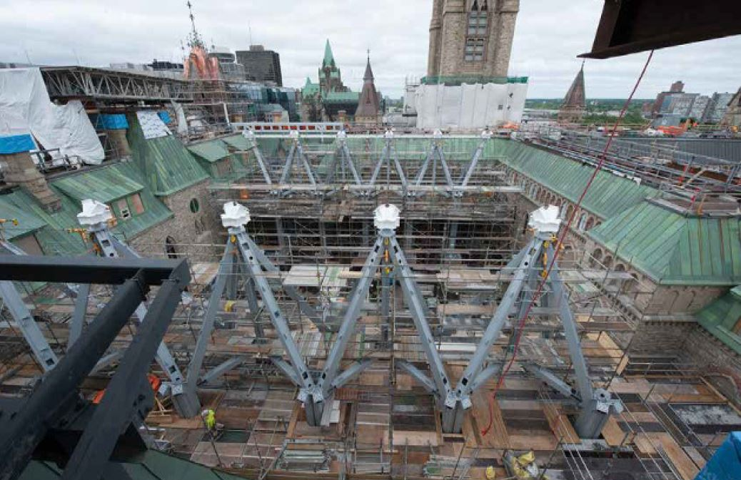 PSPC project Structural steel work at West Block, Parliament Hill